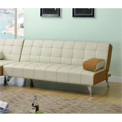 Bowery Hill Faux Leather Convertible Sofa in Beige and Brown