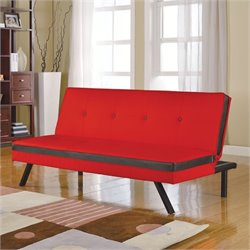 Bowery Hill Faux Leather Convertible Sofa in Red and Black