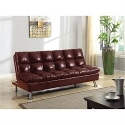 Bowery Hill Faux Leather Convertible Sofa in Burgundy