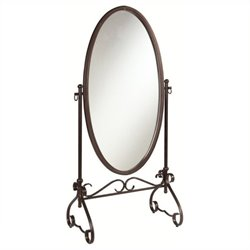 Bowery Hill Metal Cheval Mirror in Antique Brown