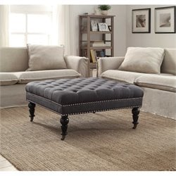 Bowery Hill Square Ottoman in Charcoal