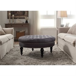Bowery Hill Round Ottoman in Charcoal