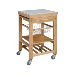 Bowery Hill Granite Top Kitchen Cart