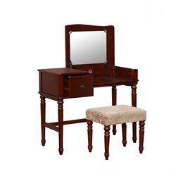 Bowery Hill 3 Piece Bedroom Vanity Set in Rich Walnut