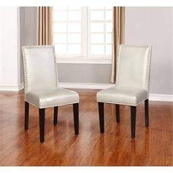 Bowery Hill Faux Leather Dining Chair in Sizzle Pewter (Set of 2)