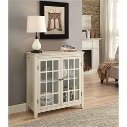 Bowery Hill Antique Double Door Curio Cabinet in White