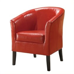 Bowery Hill Faux Leather Club Chair in Red