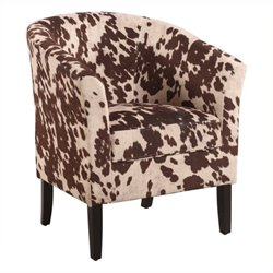 Bowery Hill Barrel Chair in Udder Madness Animal Print