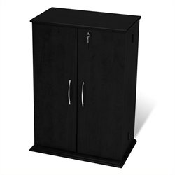 Bowery Hill Locking CD DVD Media Storage Cabinet in Black-20161122