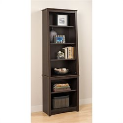 MER-1186 Bowery Hill Shelf Slant-Back Bookcase in Espresso