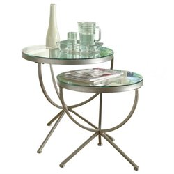 Bowery Hill 2 Piece Round Glass Top Nesting Table Set in Satin Silver