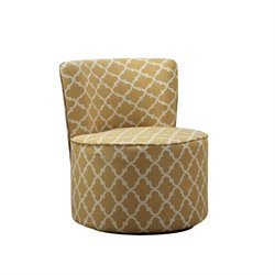 Bowery Hill Lantern Fabric Accent Chair with Swivel Base in Gold