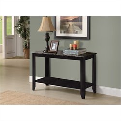 Bowery Hill Faux Marble Top Console Table in Black and Gray