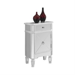 Bowery Hill 1 Drawer Mirrored Accent Chest in Satin White