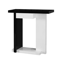 Bowery Hill Console Table in Glossy White and Black
