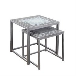 Bowery Hill 2 Piece Blue Tile Top Nesting Table Set in Hammered Silver