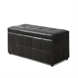 Bowery Hill Leather Storage Ottoman in Dark Brown
