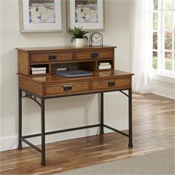 Bowery Hill Computer Desk with Hutch in Distressed Oak