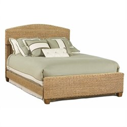 Bowery Hill Natural Woven Queen Panel Bed in Honey