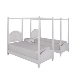 MER-1185 Bermuda Two Twin Canopy Beds and Night Stand