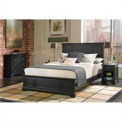 Bowery Hill 3 Piece Queen Wood Panel Bed Bedroom Set in Ebony
