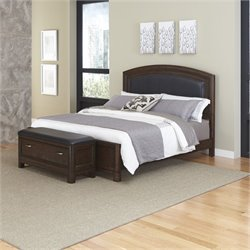 MER-1185 Home Styles Crescent Hill Leather Bed with Bench 033A
