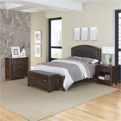 MER-1185 Home Styles Crescent Hill 4 Piece Leather Panel Bedroom Set 035A