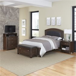 MER-1185 Home Styles Crescent Hill 4 Piece Leather Panel Bedroom Set 036A