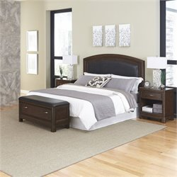 MER-1185 Home Styles Crescent Hill 4 Piece Leather Panel Bedroom Set 037A