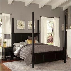 MER-1185 Bowery Hill Poster Bed and Nightstand in Black