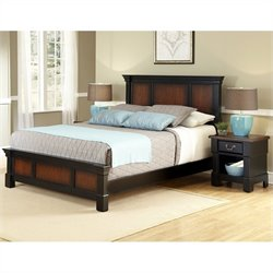 MER-1185 Bowery Hill 2 Piece Bedroom Set in Rustic Cherry and Black