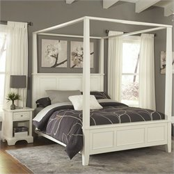 MER-1185 Bowery Hill 2 Piece Canopy Bedroom Set in White