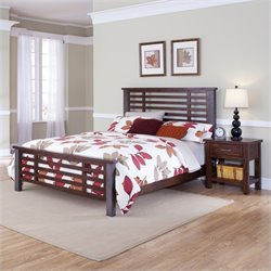 MER-1185 Bowery Hill Bed and Nightstand in Chestnut