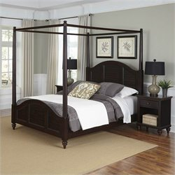 MER-1185 Bowery Hill Canopy Bed and Two Nightstands Espresso