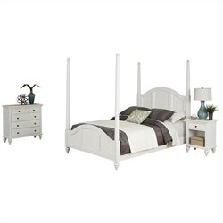MER-1185 Bowery Hill Poster Bed Nightstand and Chest White