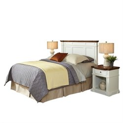 MER-1185 Home Styles Americana Headboard Bedroom Set in White and Oak Queen 3