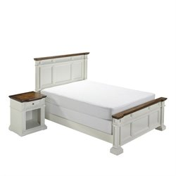 Bowery Hill 2 Piece Queen Bedroom Set in White and Oak