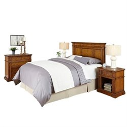 MER-1185 Home Styles Americana Headboard Bedroom Set in Oak Queen 1