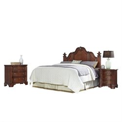 MER-1185 Home Styles Santiago Headboard King Bedroom Set in Cognac