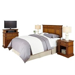 MER-1185 Home Styles Americana Headboard Bedroom Set in Oak Queen 3