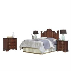 MER-1185 Home Styles Santiago Headboard Queen Bedroom Set in Cognac