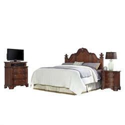 MER-1185 Home Styles Santiago Headboard King Bedroom Set in Cognac 3