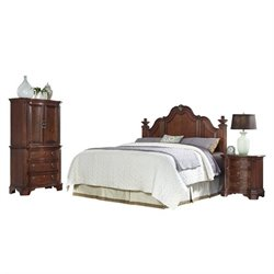 MER-1185 Home Styles Santiago Headboard King Bedroom Set in Cognac 2