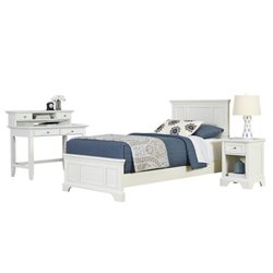 MER-1185 Home Styles Naples Twin Bedroom Set in White