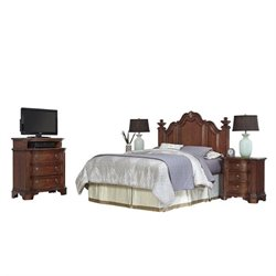 MER-1185 Home Styles Santiago Headboard Queen Bedroom Set in Cognac 3