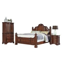 MER-1185 Home Styles Santiago Queen Bedroom Set in Cognac 3