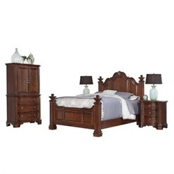 MER-1185 Home Styles Santiago Queen Bedroom Set in Cognac 4