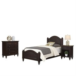 MER-1185 Bermuda 3 Piece Wood Twin Bedroom Set