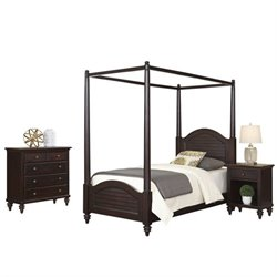 MER-1185 Bermuda 3 Piece Wood Twin Canopy Bedroom Set
