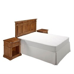 MER-1185 Home Styles Americana Headboard Bedroom Set in Natural Acacia 3